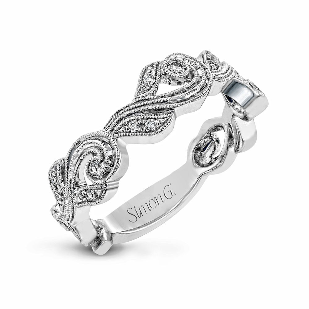 18K WHITE GOLD, WITH WHITE DIAMONDS. TR682 - RIGHT HAND RING