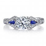 MARS 25774 Diamond Engagement Ring 0.18 Ct Dia, 0.15 ct Saph.