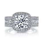 MARS Diamond Engagement Ring 0.88 Ct Rd, 0.71 Ct Bg.
