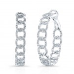 18k Chain Diamond Hoop Earrings