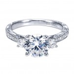 Gabriel Co 14K White Gold Victorian 3 Stone Engagement Ring