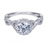 Gabriel Co 14K White Gold Twist Halo Engagement Ring