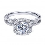 Gabriel Co 14K White Gold Round Halo Engagement Ring