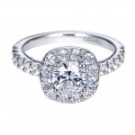 Gabriel Co 14K White Gold Prong Set Halo Engagement Ring