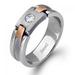 18K WHITE & ROSE GOLD, WITH WHITE DIAMONDS. LP2078 - MEN RING