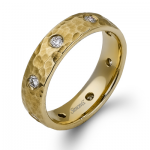 14K YELLOW GOLD, WITH WHITE DIAMONDS. LP2176 - MEN RING