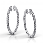 18K GOLD WHITE ME1404 HOOP EARRING