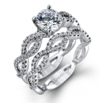 18K WHITE GOLD, WITH WHITE DIAMONDS. MR1596 - WEDDING SET
