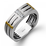 14K WHITE & ROSE GOLD, WITH WHITE DIAMONDS. MR2107 - MEN RING