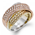 18K WHITE & YELLOW & ROSE GOLD, WITH WHITE DIAMONDS. MR2684 - RIGHT HAND RING
