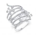 18k White Spiral Constellation Ring