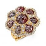 18KY Rustic Diamond Ring