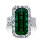 18K White Gold 10.21ct Emerald Cut Green Tourmaline Ring