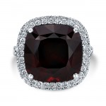 18K White & Rose Gold 14.25ct Cushion Shaped Garnet Ring