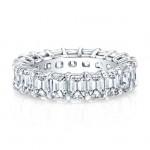 Platinum Emerald Cut Diamonds Floating Eternity Band