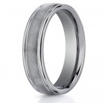 Benchmark 6mm Round Tungsten Carbide Ring with Ridged Edges