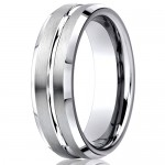 Benchmark 7mm Brushed Cobalt Chrome Ring with Polished Center Groove