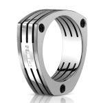 Benchmark 7.5mm Dual Finish Titanium Slotted Triangular Ring