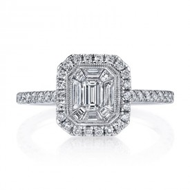 MARS Diamond Engagement Ring 0.53 Ct Rd, 0.20 Ct Em, 0.26 Ct Bg.