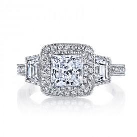 MARS Diamond Engagement Ring 0.76 ct rd 0.51 ct trp