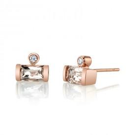 MARS Stud Earrings, 0.06 Dia, 1.06 Morganite