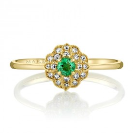 MARS Fashion Ring, 0.11 Emerald, 0.08 Dia Ctw.