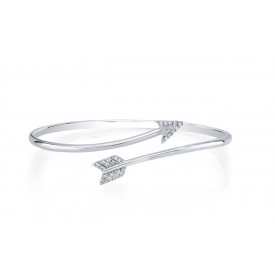 18k White Gold Arrow Diamond Bangle