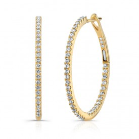 18k Diamond Round Hoop Earrings