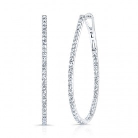18k Diamond Oval Hoop Earrings