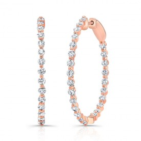 18k Single Shared-Prong Diamond Round Hoop Earrings