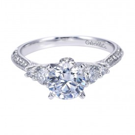 Gabriel Co 14K White Gold Contemporary 3 Stone Engagement Ring