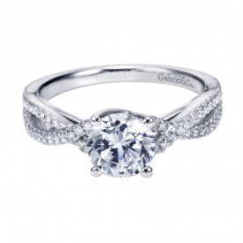 Gabriel Co 14K White Gold Criss Cross Halo Cathedral Engagement Ring