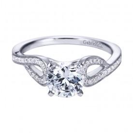 Gabriel Co 14K White Gold Contemporary Swirling Split Shank Engagement Ring