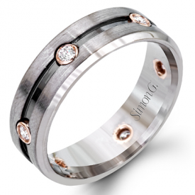 14K WHITE & ROSE GOLD, WITH WHITE DIAMONDS. LP2187 - MEN RING