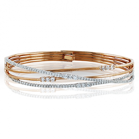 18K TWO TONE GOLD MB1553 BANGLE