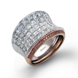 18K GOLD WHITE & ROSE MR1720 RIGHT HAND RING