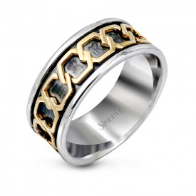 18K YELLOW & WHITE GOLD, WITH WHITE DIAMONDS. MR1978 - MEN RING