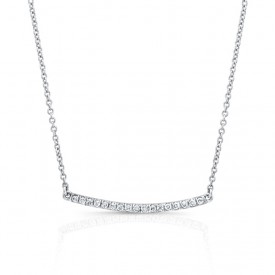 14K Diamond Curved Bar Necklace