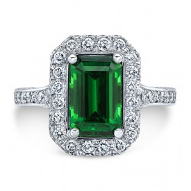 Platinum 2.20CT Emerald Cut Tsavorite Ring