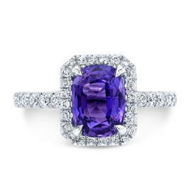 18K White Gold 1.91ct Cushion Shaped Purple Sapphire Ring