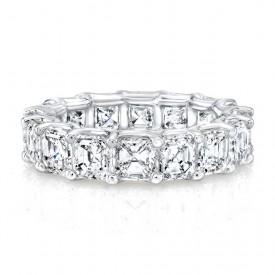 18k White Gold Asscher Cut Diamonds Floating Eternity Band