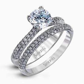 18K WHITE GOLD, WITH WHITE DIAMONDS. TR431 - WEDDING SET