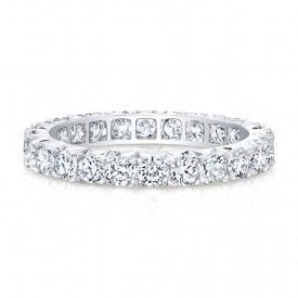 18k White Round Diamonds Micropave Eternity Band