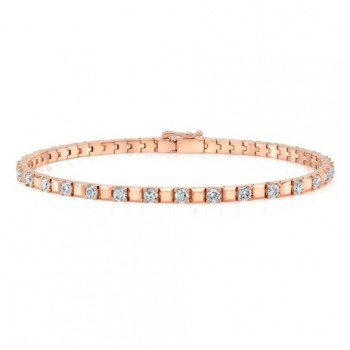 14K Rose Gold Diamond Alternating Tennis Bracelet
