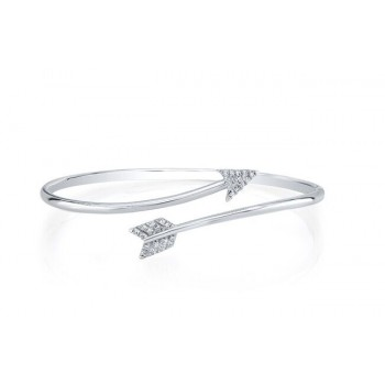 14K White Gold Diamond Open Arrow Bangle