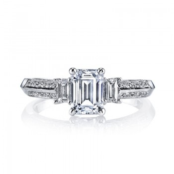 MARS 25088 Diamond Engagement Ring 0.21 Ct Rd, 0.15 Ct Bg.