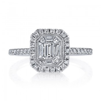 MARS 25169 Diamond Engagement Ring 0.53 Ct Rd, 0.20 Ct Em, 0.26 Ct Bg.