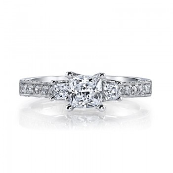 MARS 25923 Diamond Engagement Ring 0.46 Ct Rd, 0.25 Ct Pr.