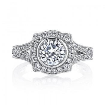 Diamond Engagement Ring 0.52 ct dia, 0.11 ct saph