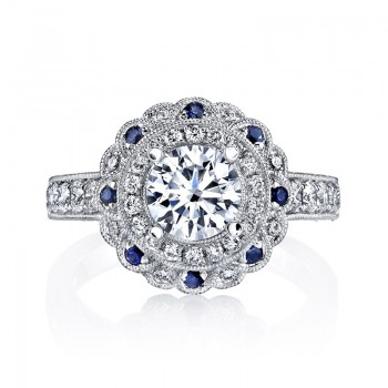 MARS 26462 Diamond Sapphire Engagement Ring 0.59 Ct Dia, 0.16 Ct Saph.